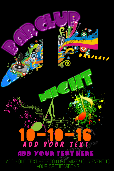Club Event Venue DJ Neon Bar Rainbow Party Grunge Colorful Dance Music Night Poster Flyer