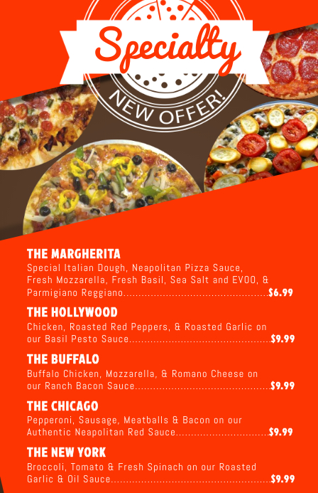 Specialty Pizza Menu Template