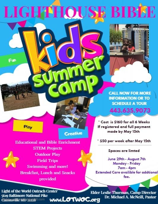 kids Summer Camp Flyer Poster Template