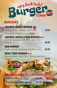 Half Page Wide Burger Menu Template