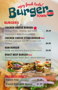 Half Page Wide Burger Menu Template