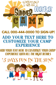 Summer Camp Kids Event Recreational Vacation Spring Break Club Flyer Poster