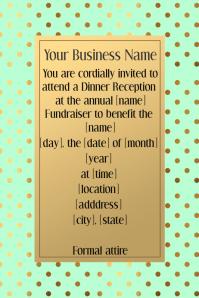 Fancy Gold Dot Dinner Reception Dance Invitation Poster Flyer