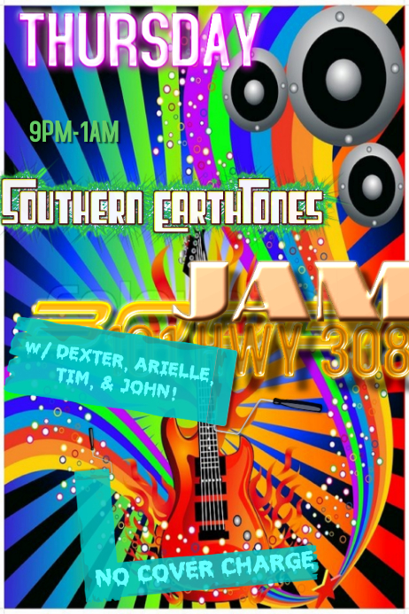 Rainbow Stripes Colorful Paint Guitar Retro Vintage Music Flames Fire Speakers Band Flyer