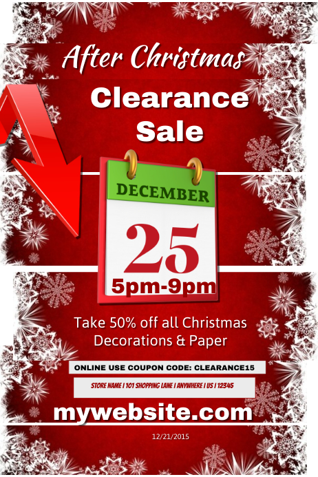 After Christmas Clearance Sale Template
