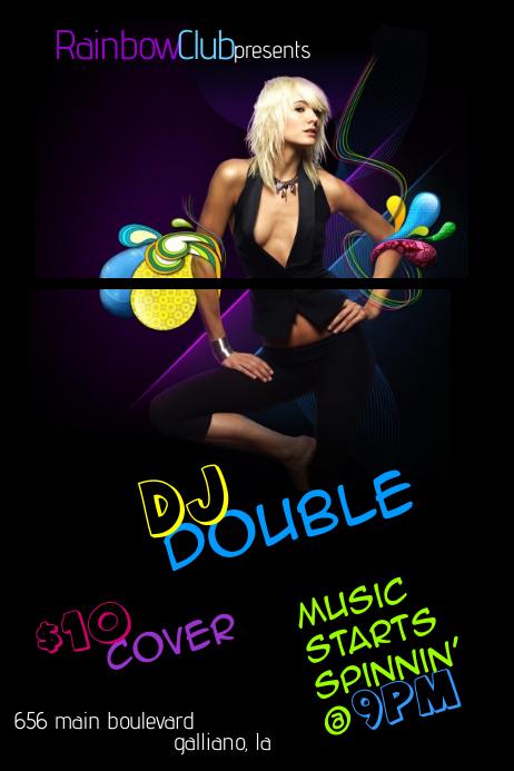 Pin-Up Paisley Ladies Club Retro DJ Music Woman Female Event Flyer Rainbow Colorful