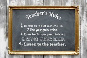 Teacher's Rules Vintage Chalkboard School Wall Event Classroom Decor Poster