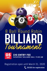 8 ball billiard tournament template Poster