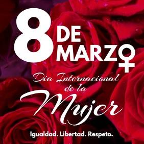 8 de marzo dia internacional de la mujer rosa Instagram Post template