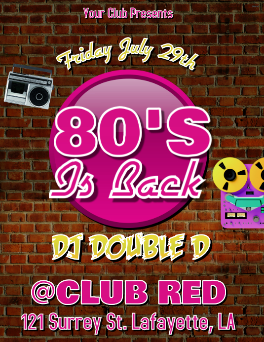 80'S IS BACK CLUB FLYER Pamflet (VSA Brief) template