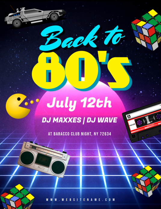80's Night Flyer Pamflet (VSA Brief) template