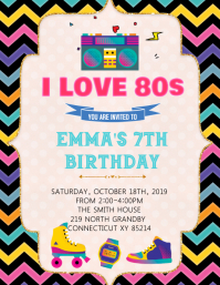 80's party birthday invitation