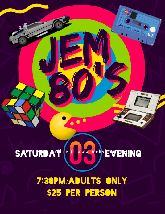 80's Party Flyer Pamflet (VSA Brief) template