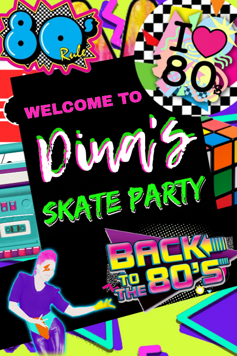 80's Skate Party Welcome Sign
