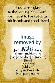 Gold Foil New Year Holiday Party Invitation Flyer Poster