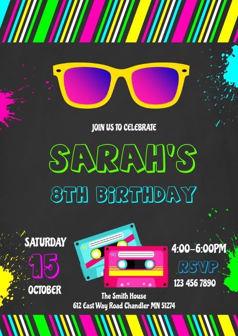 80s 90s birthday invitation A6 template