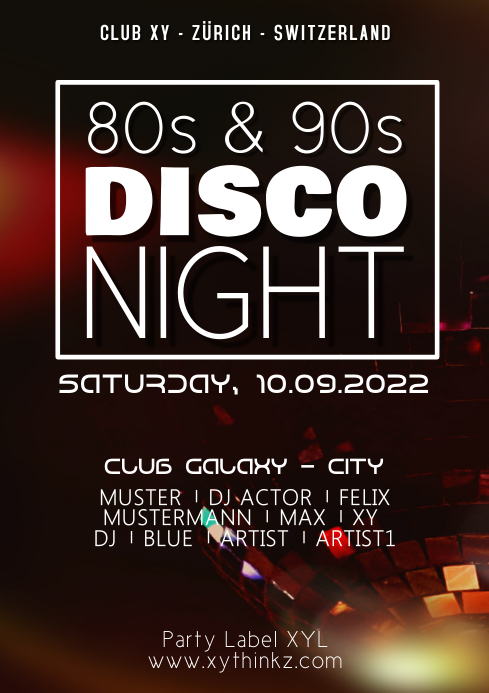 80s 90s Party Disco Night Retro Neon Oldschool Events Club A4 template
