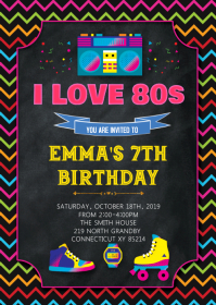 80s birthday theme invitation