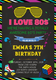 80s birthday theme invitation