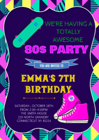80s birthday theme invitation A6 template