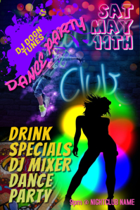 80s Dance Party Club Poster Template