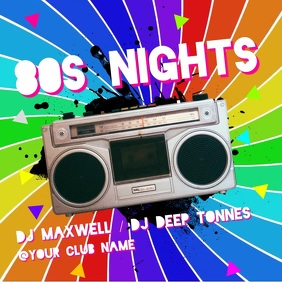 80s Nights Square (1:1) template