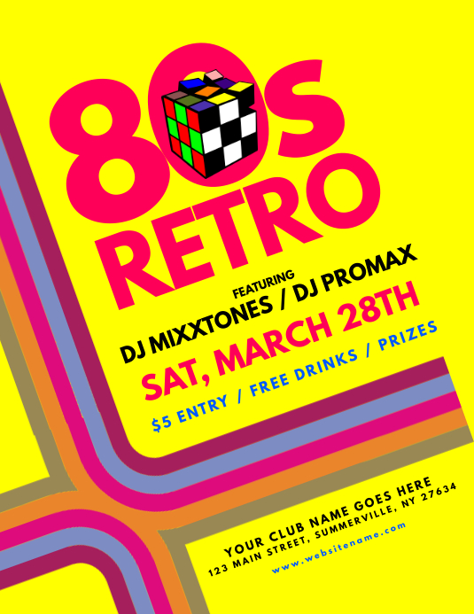 80s Retro Flyer Pamflet (Letter AS) template
