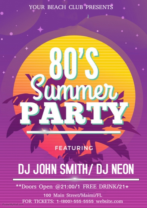 80s Summer Party Customize Template