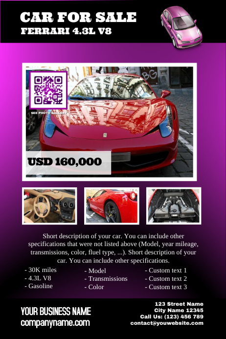 pre made car ad template postermywall