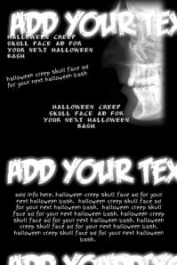 Skull Black White Halloween Punk Band Bar Event Flyer Poster
