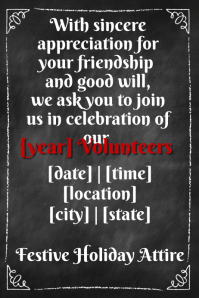 Chalkboard border invitation volunteer business party flyer