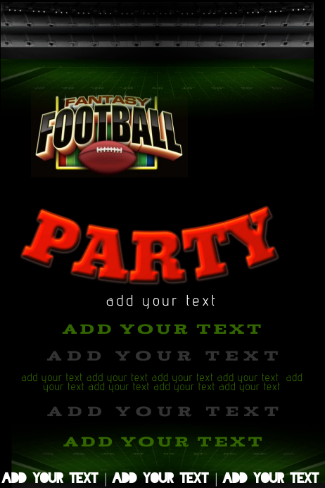 Fantasy Football Field Goal Party Tailgate Stadium High School College Sports Event Schedule Invite