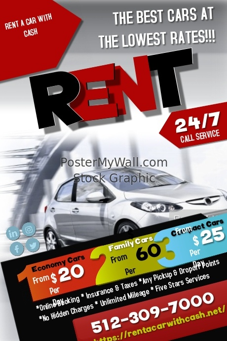 Local Car Rental >> Local Car Rental Without Credit Card Postermywall