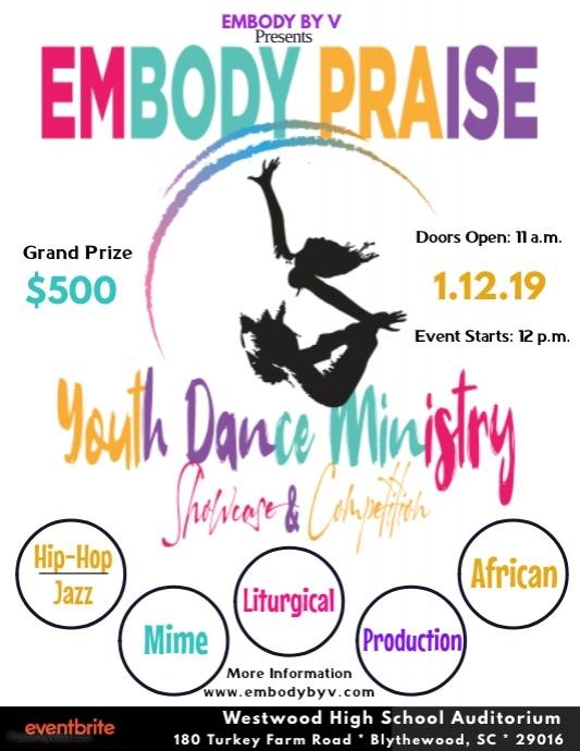 Embody Praise Poster Flyer (US Letter) template