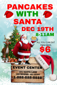 Pancakes with Santa Event Template Poster