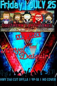 Daiquiri Shop Bar Band Red Blue Stripes Grunge Vintage Crowd Audience Flyer