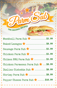 Sub Sandwiches Menu Template