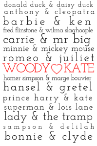 Personalised Famous Couples Poster