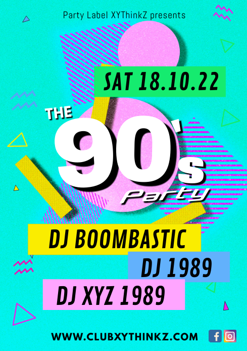 90's 90s nineties party event music bar club A4 template
