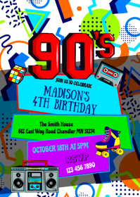 90's birthday party invitation