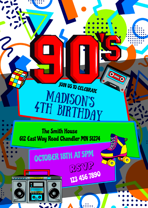 90's birthday party invitation A6 template