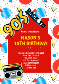 90's house birthday party invitation A6 template