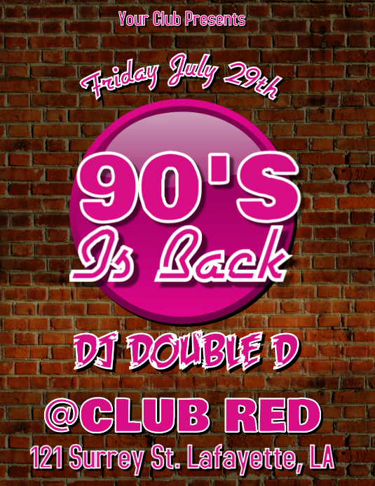 90'S IS BACK CLUB FLYER Pamflet (VSA Brief) template