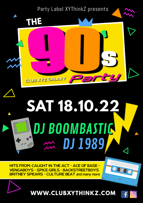 90's Party 90er nineties event ad Retro 90er A4 template