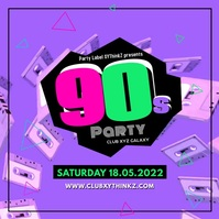 90's Party 90er Oldschool Retro Disco Music Quadrat (1:1) template