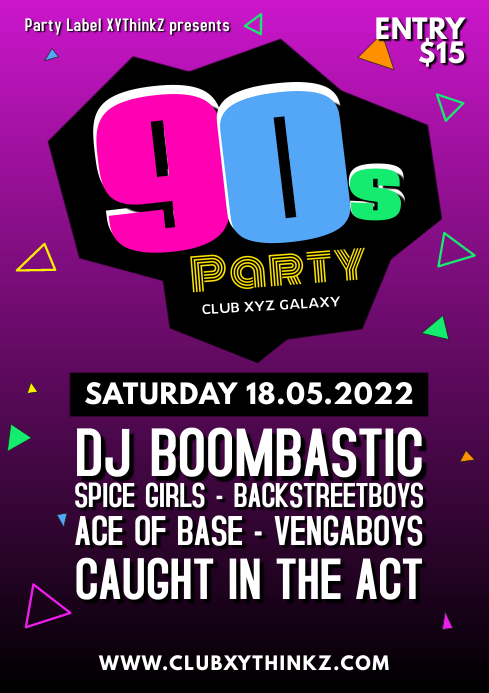 90's Party 90er Oldschool Retro Event 90er Facebook A4 template