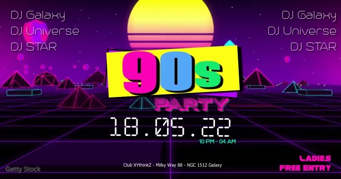 90's Party 90s Oldschool Retro Event 90er 80s Banne Facebook template