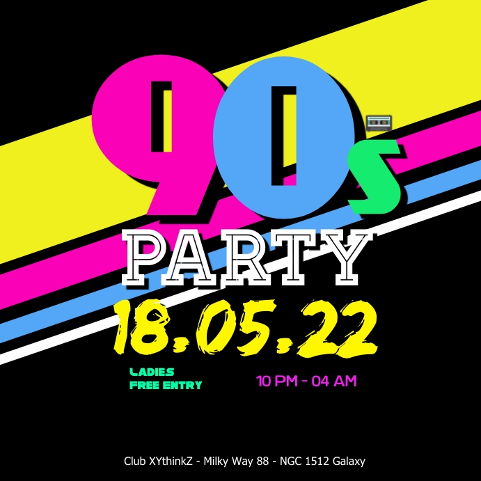 90's Party 90s Oldschool Retro Event 90er 80s Club Bar Vierkant (1:1) template