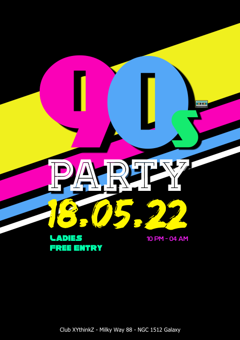 90's Party 90s Oldschool Retro Event 90er 80s Club Bar A4 template