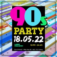90's Party 90s Oldschool Retro Event 90er 80s Club Bar Quadrado (1:1) template